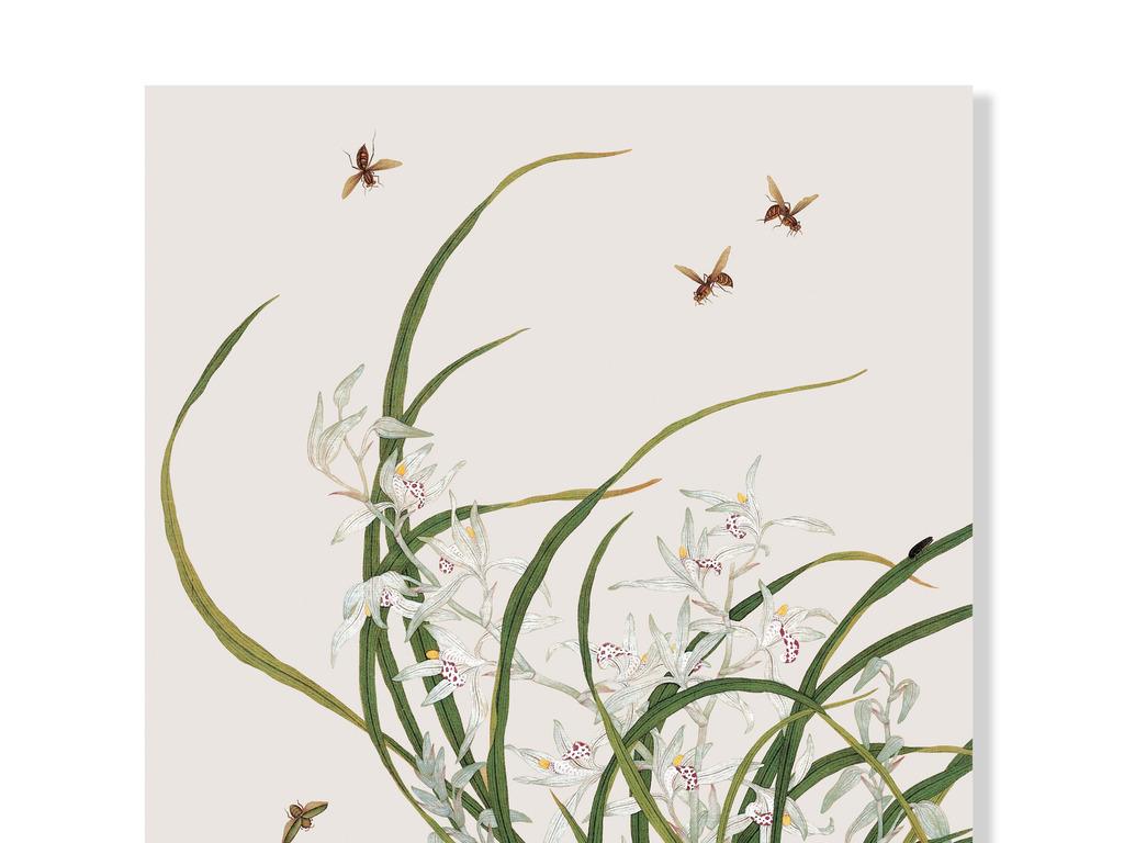 新中式手绘工笔兰花蜜蜂装饰画