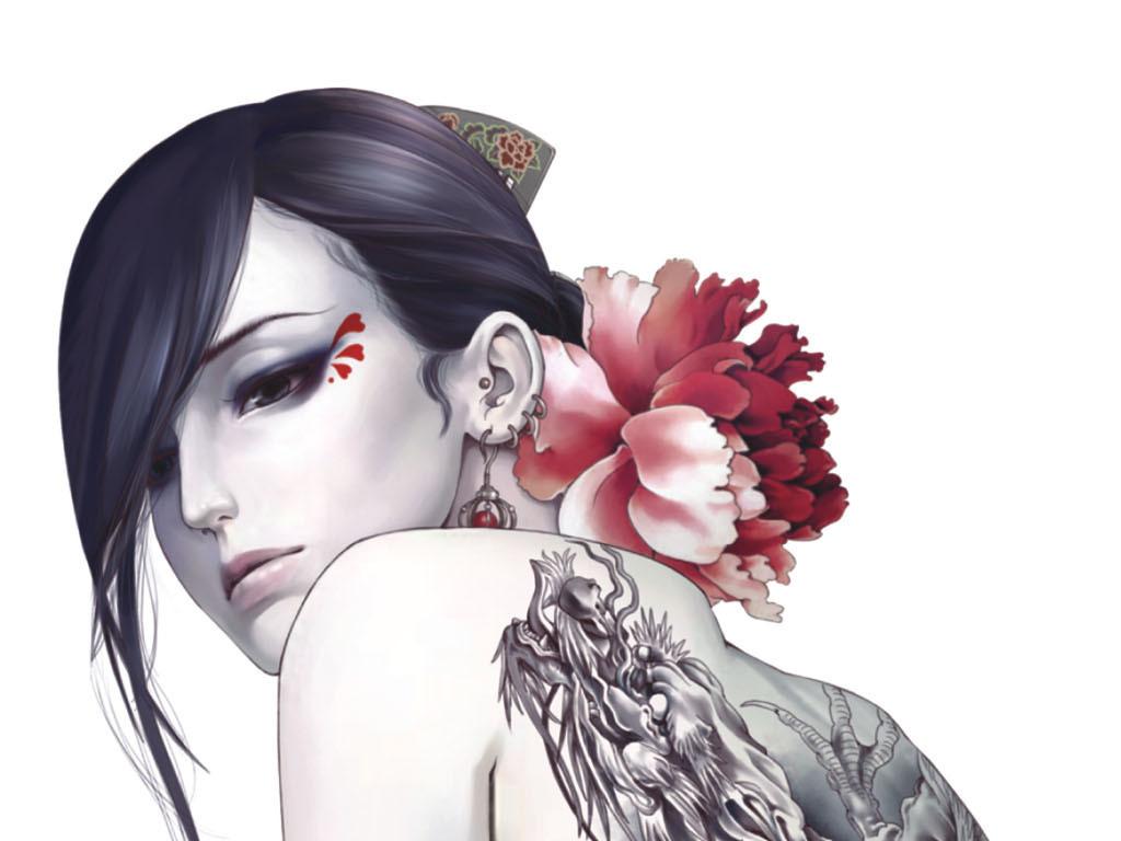 手绘中国风纹身海报挂画写真刺青背景墙