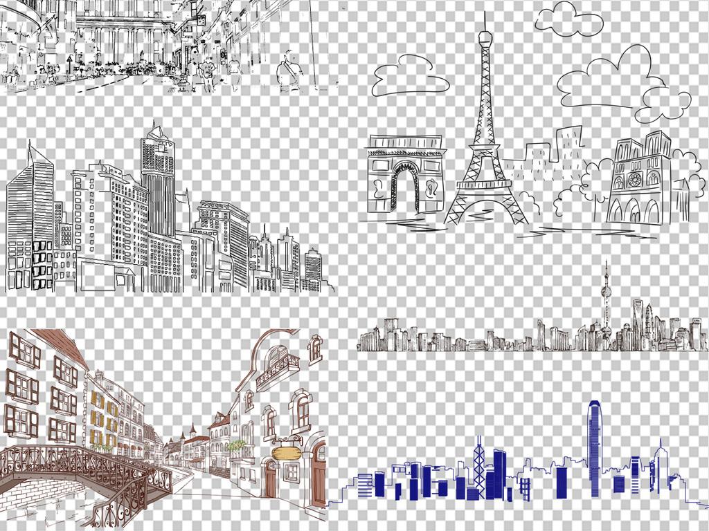 手绘线条建筑png透明背景免扣素材