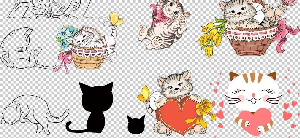0140猫咪卡通手绘猫咪可爱萌宠喵喵免抠素材
