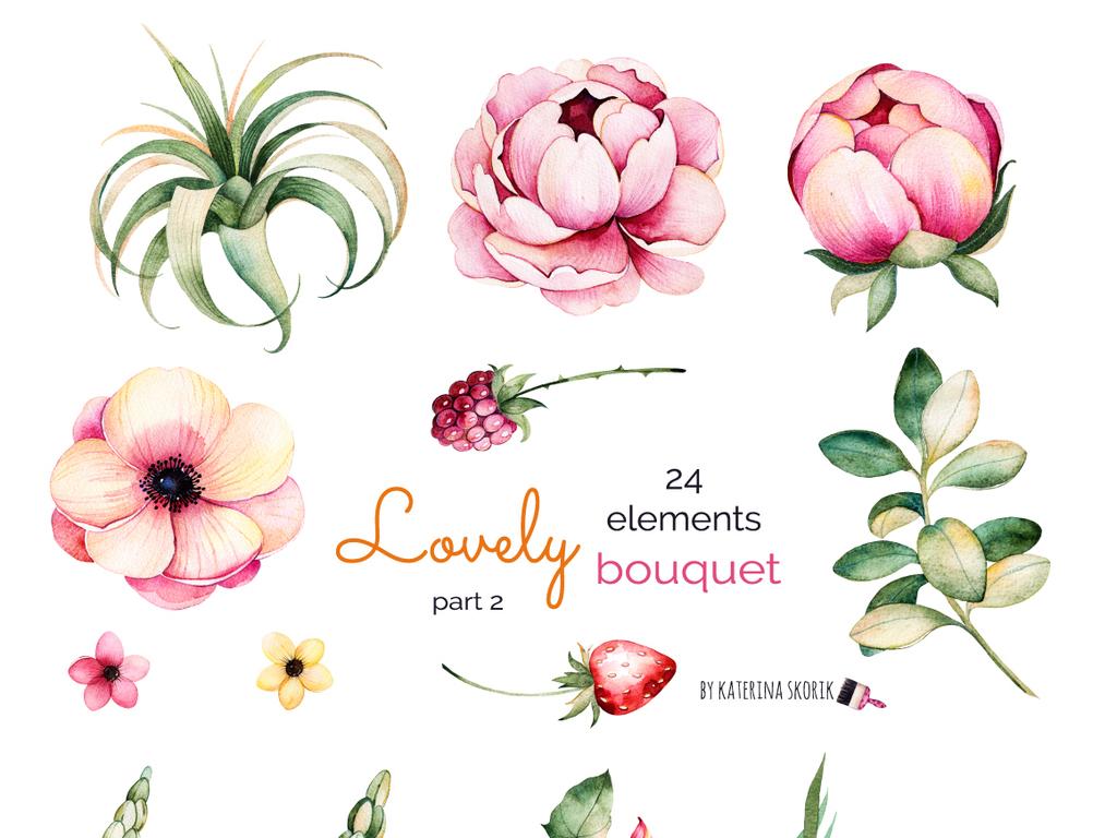 手绘水彩花卉花朵png