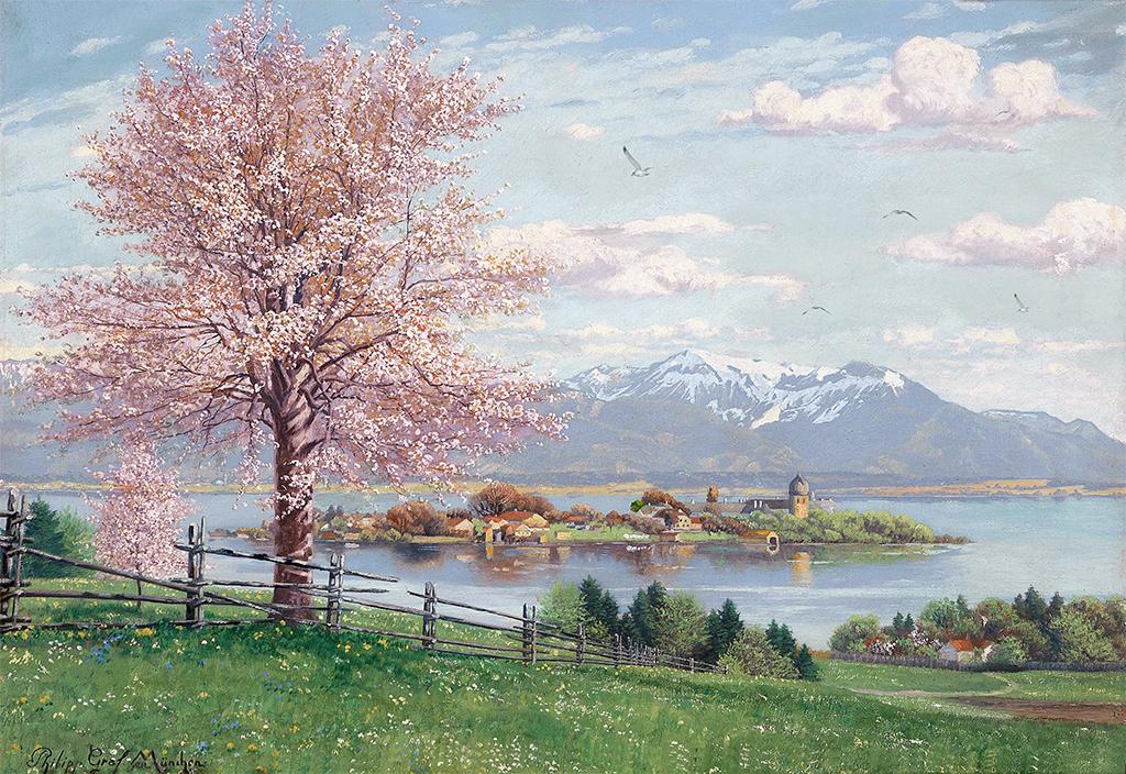 手绘樱花树背景墙