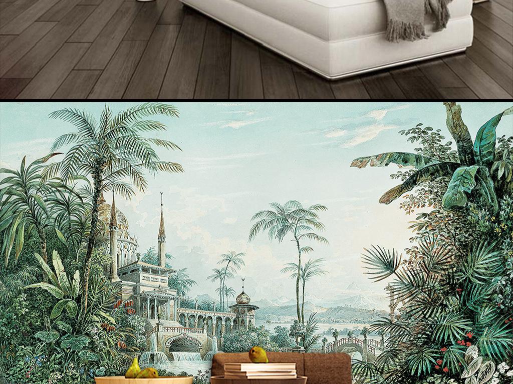 手绘热带雨林风景背景墙
