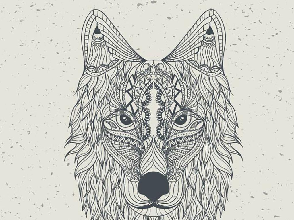 手绘工笔画狼