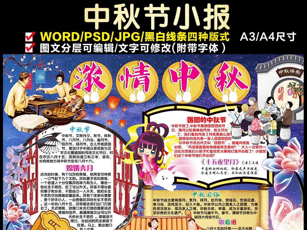 小报图片宏扬中国传统文华-国庆节中秋节手秒报模版图片