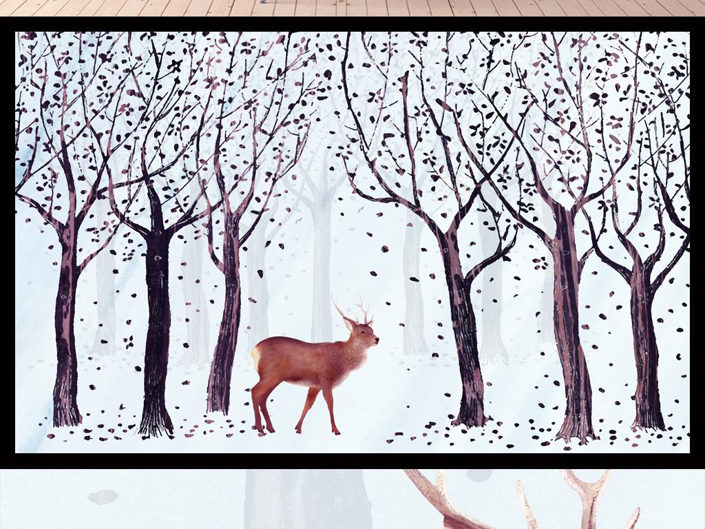 手绘麋鹿森林电视背景墙图片设计素材_高清psd模板(.