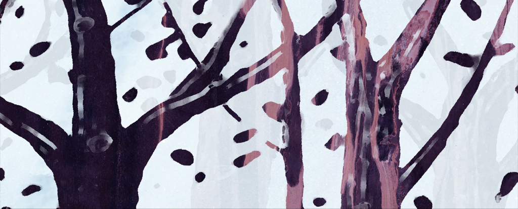 手绘麋鹿森林电视背景墙