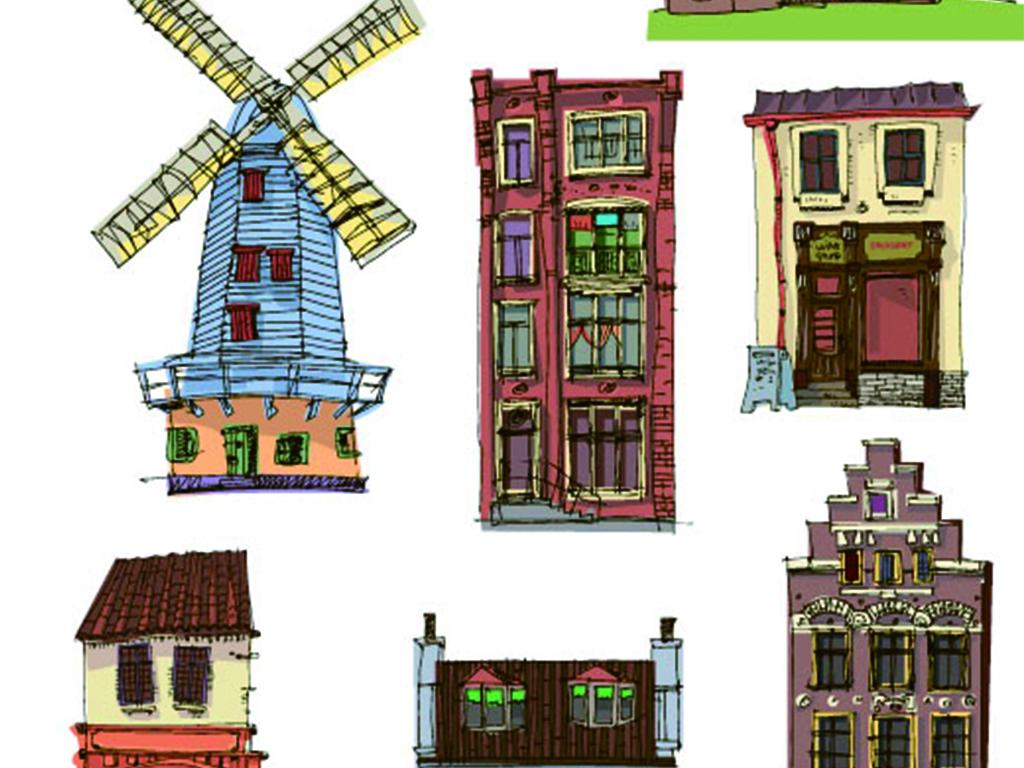 理发店披萨店灯塔手绘建筑复古手绘手绘灯塔复古建筑住宅手绘复古楼