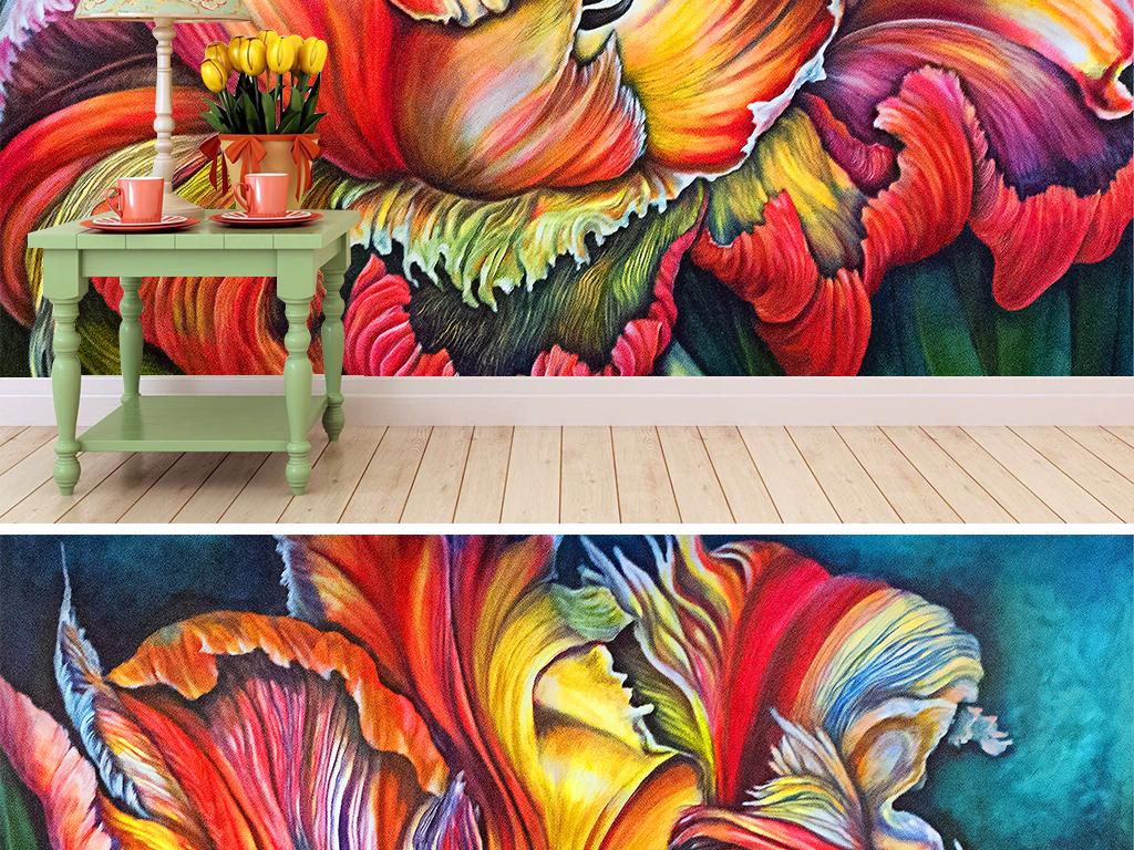 盛开的郁金香手绘彩铅背景墙