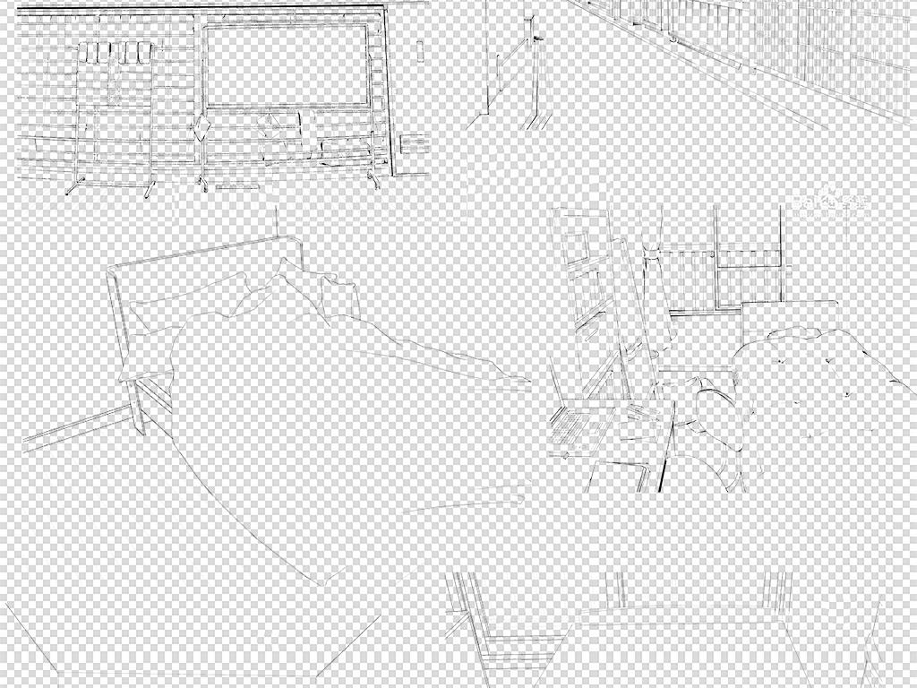 手绘动漫日式场景线稿png素材图片设计_高清模板下载