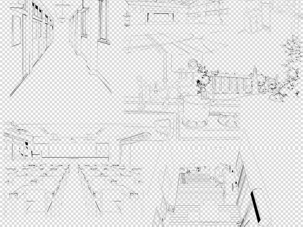 手绘动漫日式场景线稿PNG素材图片下载png素材 抽象几何图片