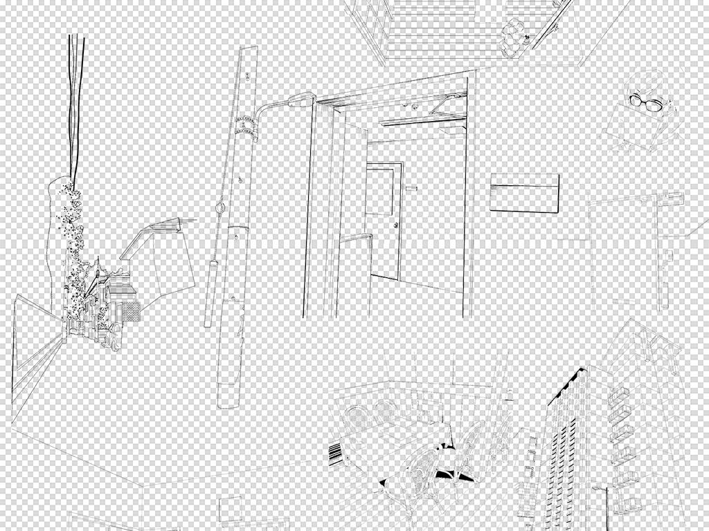 线稿建筑设计城市风景
