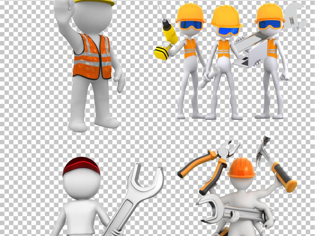 卡通3d小人素材维修师傅机械工具师免扣设计元素