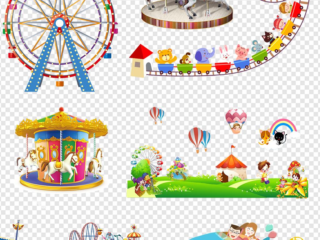 免抠元素 花纹边框 卡通手绘边框 > 儿童游乐园过山车旋转木马摩天轮