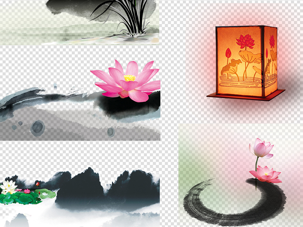 古风手绘荷花荷叶水墨荷花荷叶素材荷花荷叶中国水墨荷叶水墨素材水墨