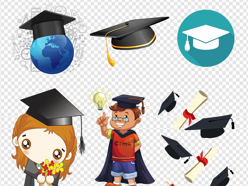卡通小博士博士帽毕业素材图片