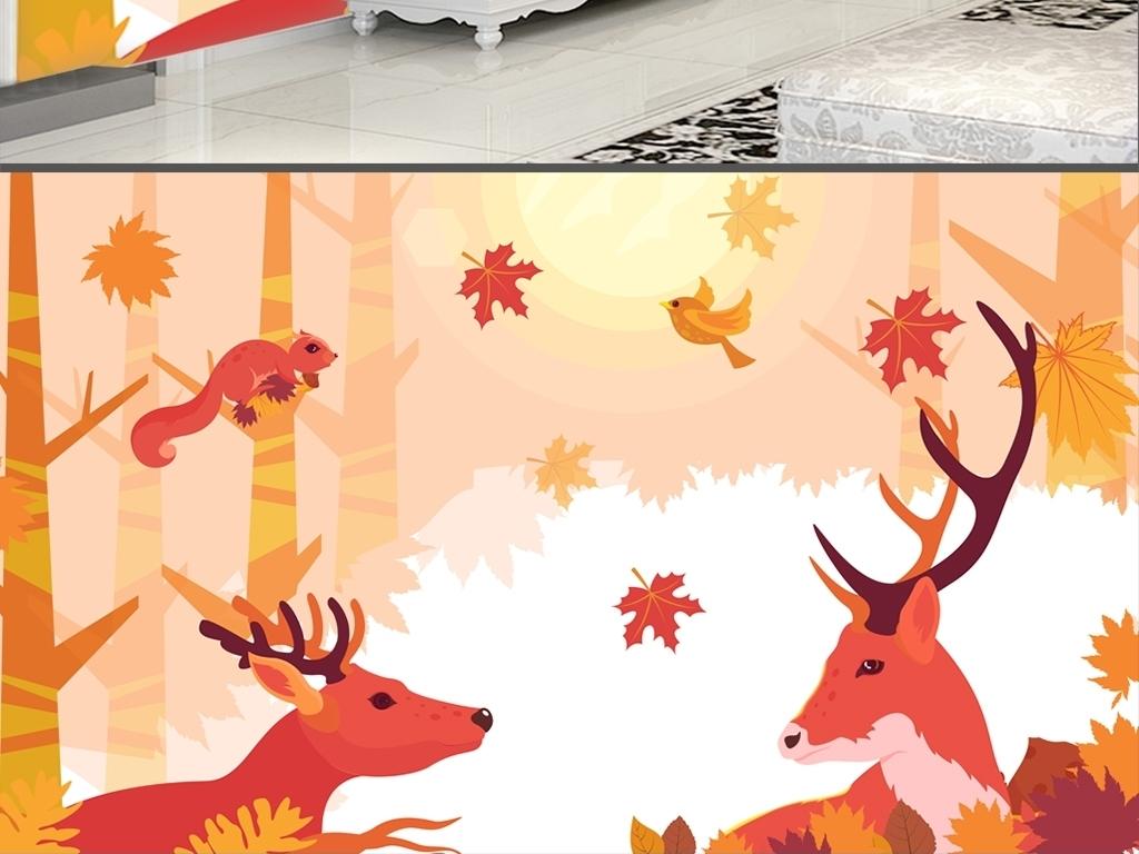 唯美手绘枫树林麋鹿儿童房背景墙壁纸