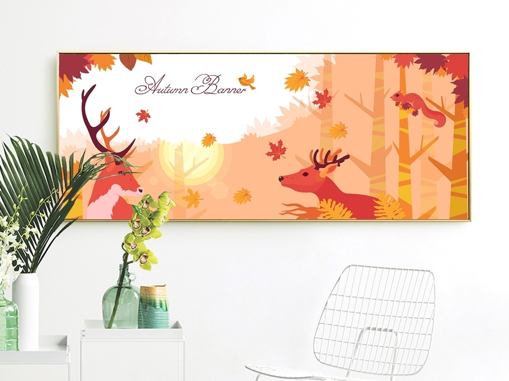 北欧唯美手绘枫树林麋鹿横幅装饰画