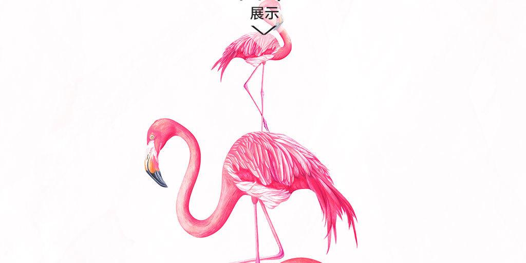 创意手绘火烈鸟树叶装饰画