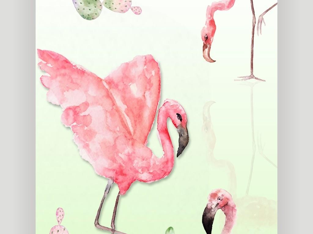 北欧清新装饰画清新粉色火烈鸟鸟类装饰画