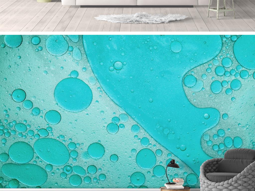 背景墙|装饰画 电视背景墙 手绘电视背景墙 > 抽象水滴蓝色背景墙北欧