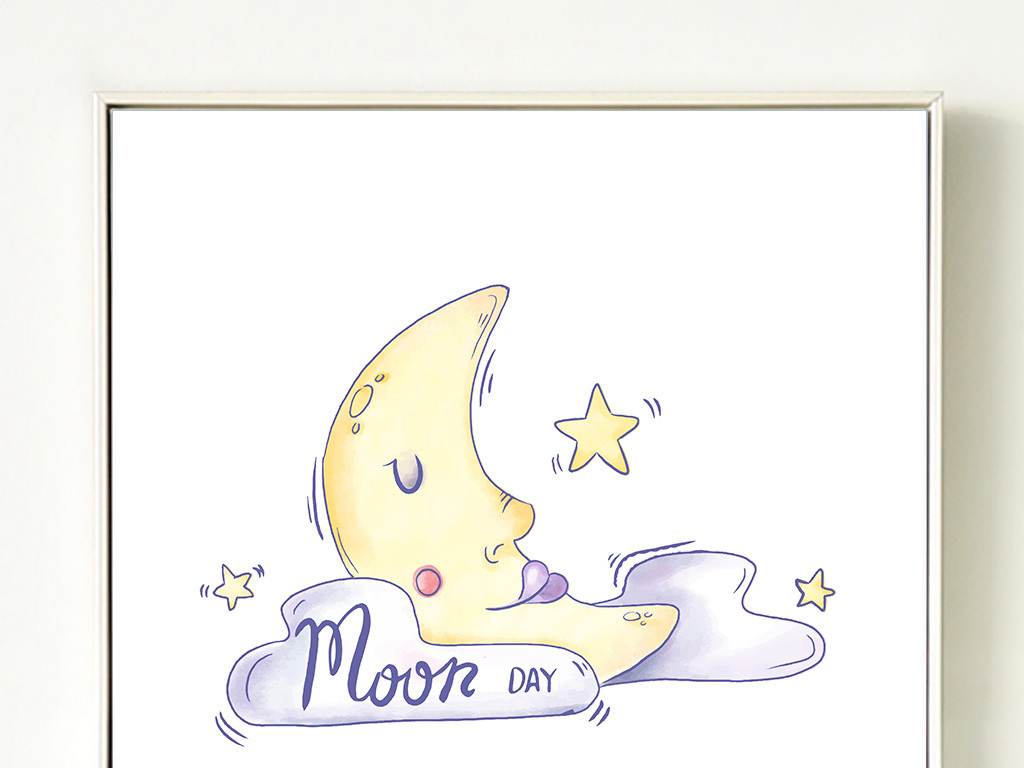 北欧简约水彩手绘卡通月亮晚安床头装饰画