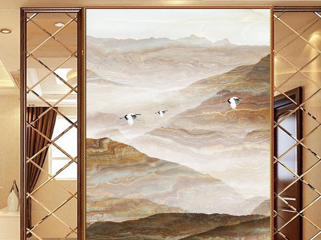 新中式禅意大理石山水玄关壁画图片
