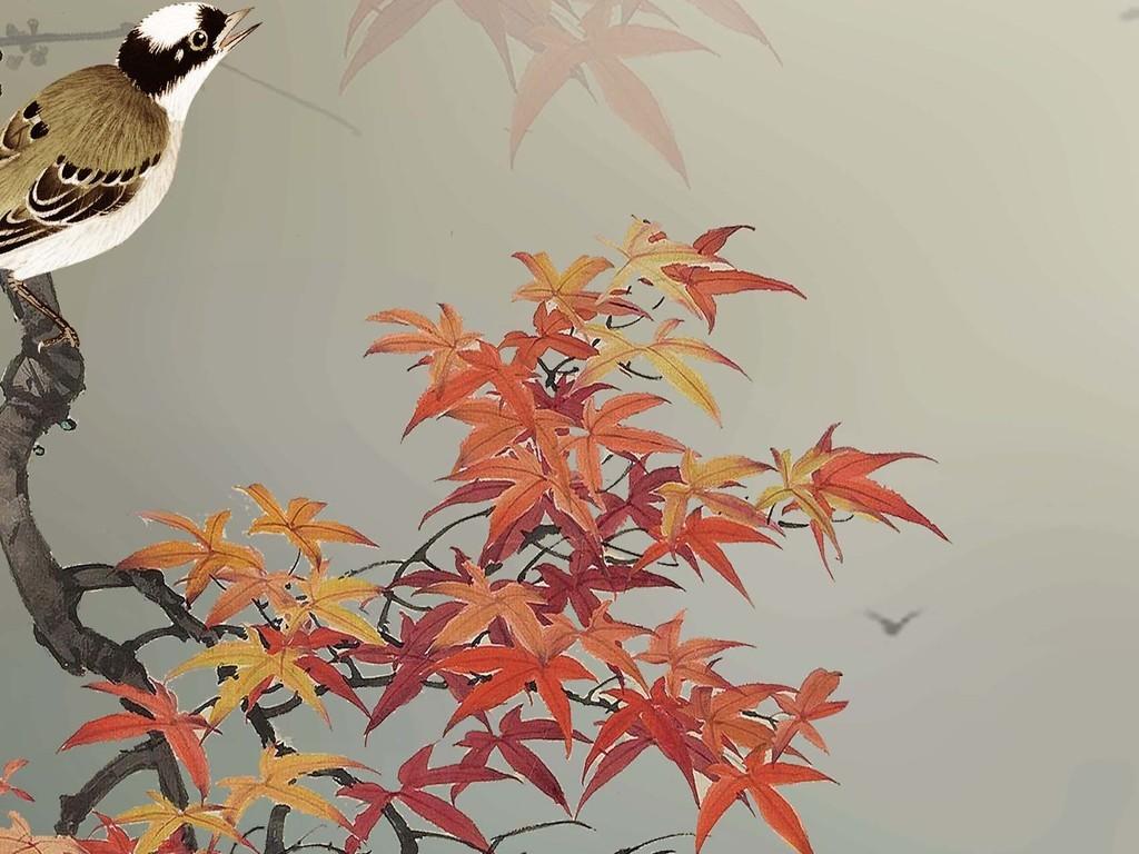 手绘高清红叶小鸟麋鹿唯美玄关背景墙