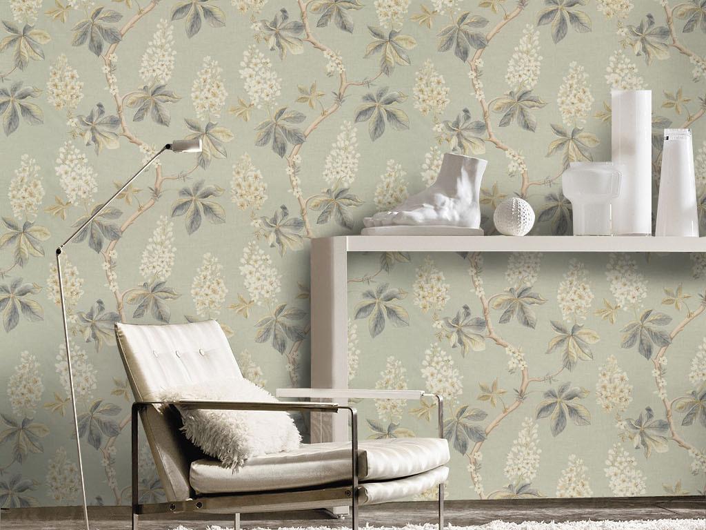 欧式复古手绘植物花卉紫薇花墙纸壁纸背景墙