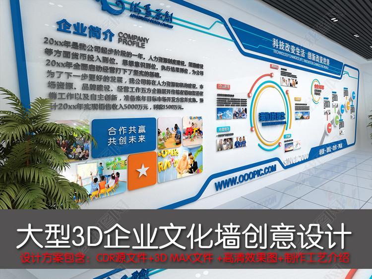 企业文化墙大气蓝色办公室文化墙设计