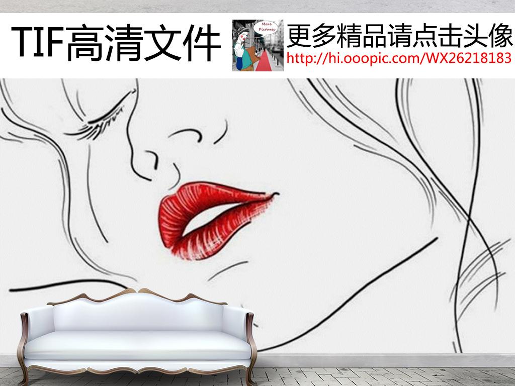 黑白手绘美女性感红唇装饰画