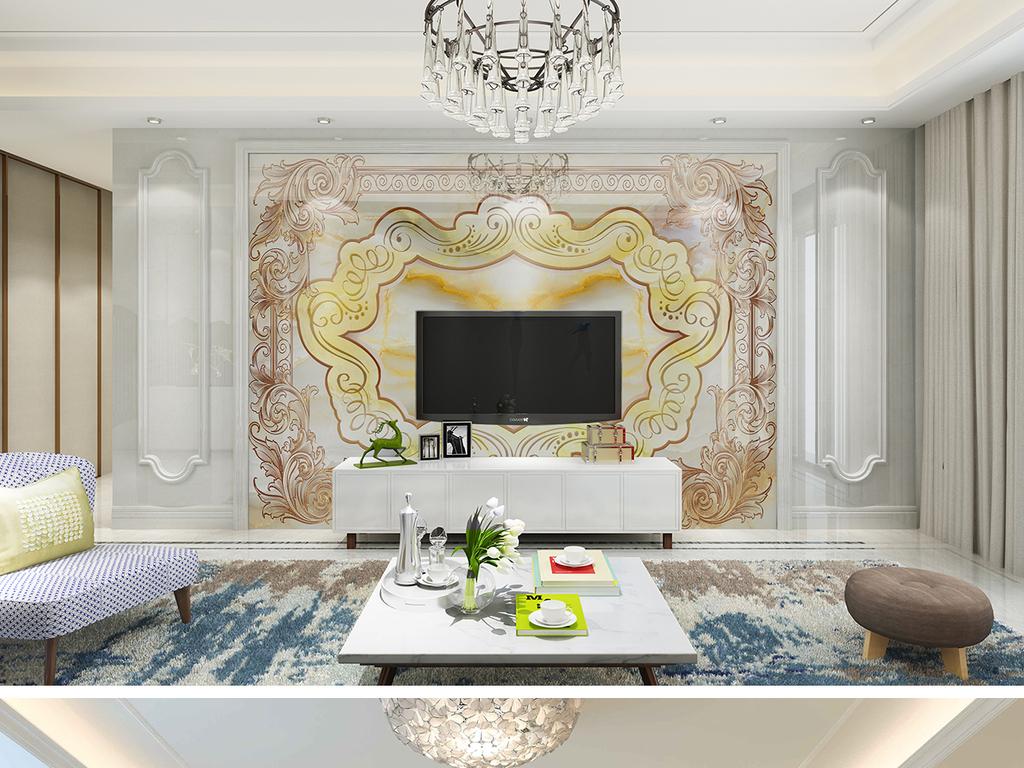 高档大理石纹欧式花纹玉石石材简欧背景墙图片