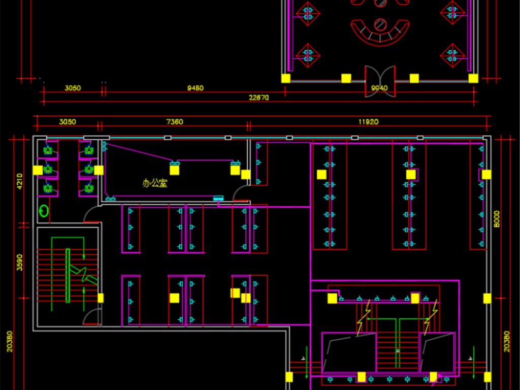 dwg)网吧智能化系统工程图纸cad弱电cad智能化综合布线监控安防建筑