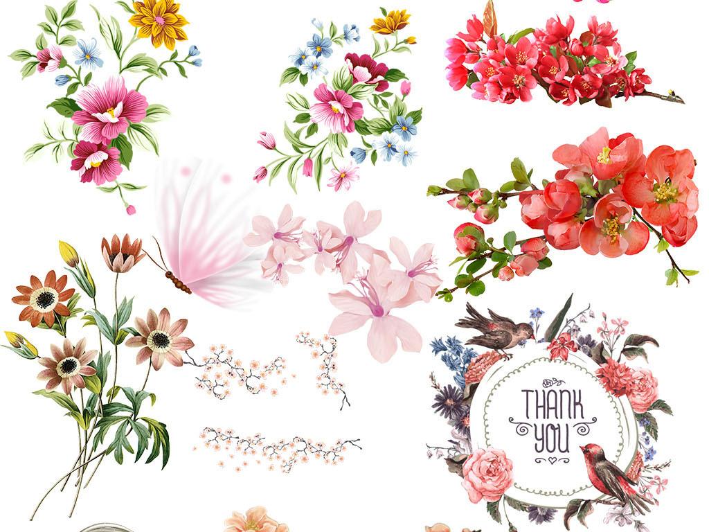 唯美浪漫粉色水彩水粉手绘桃花樱花花卉素材