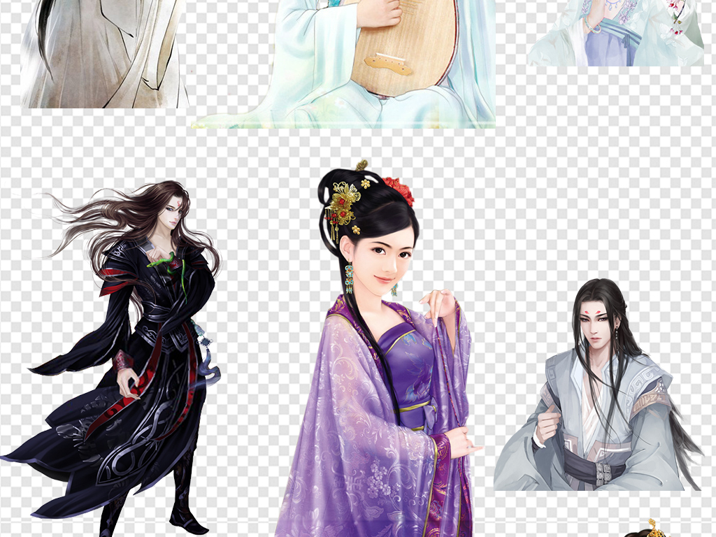 古代美女女子男子公子人物素材图片下载png素材-动漫图片