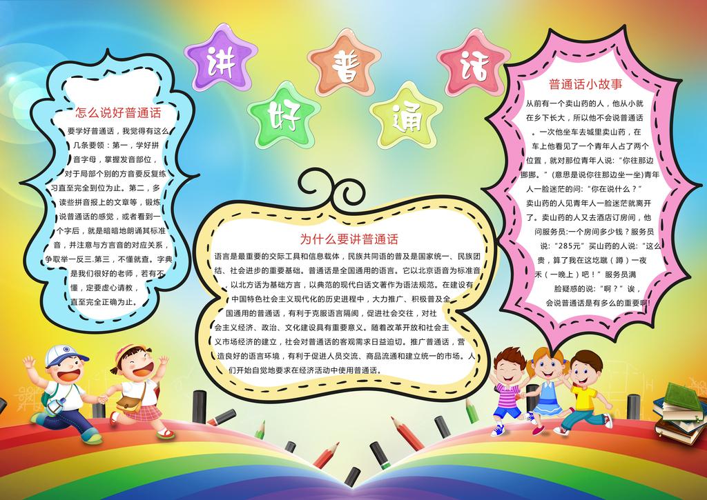 中小学生推广普通话小报语言文明礼仪手抄报