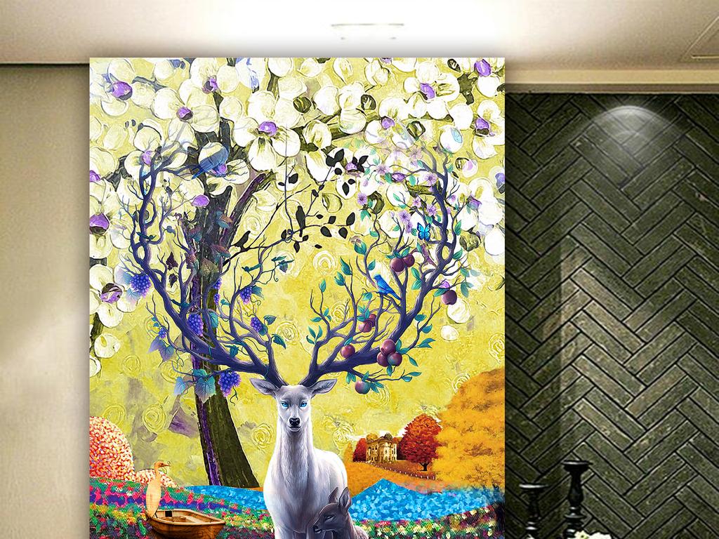 创意手绘梦幻森林麋鹿玄关背景墙
