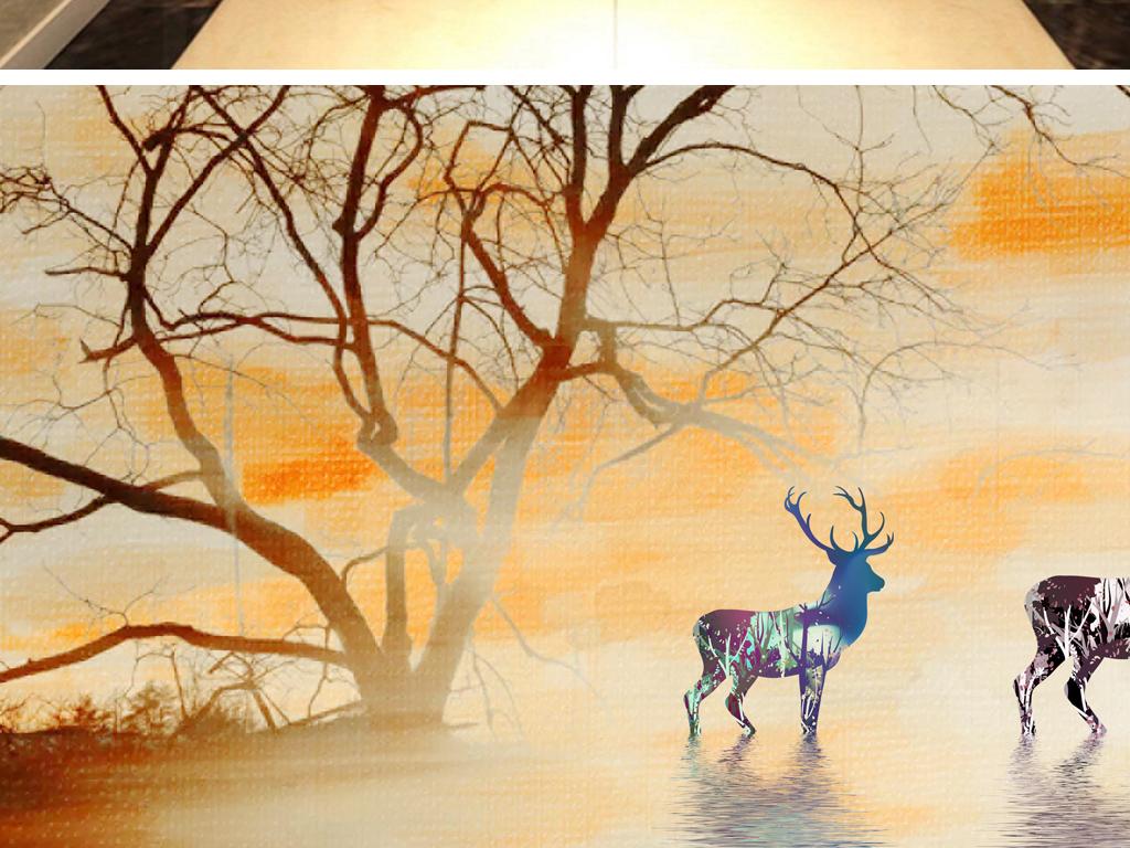麋鹿背景玄关欧式手绘意境背景墙