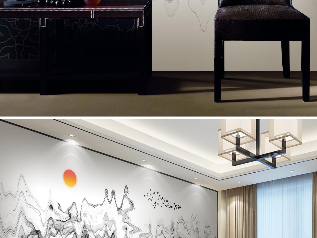 新中式水墨山水现代简约电视背景墙壁画图片