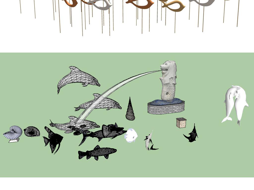 24个鱼群雕塑景观小品su模型