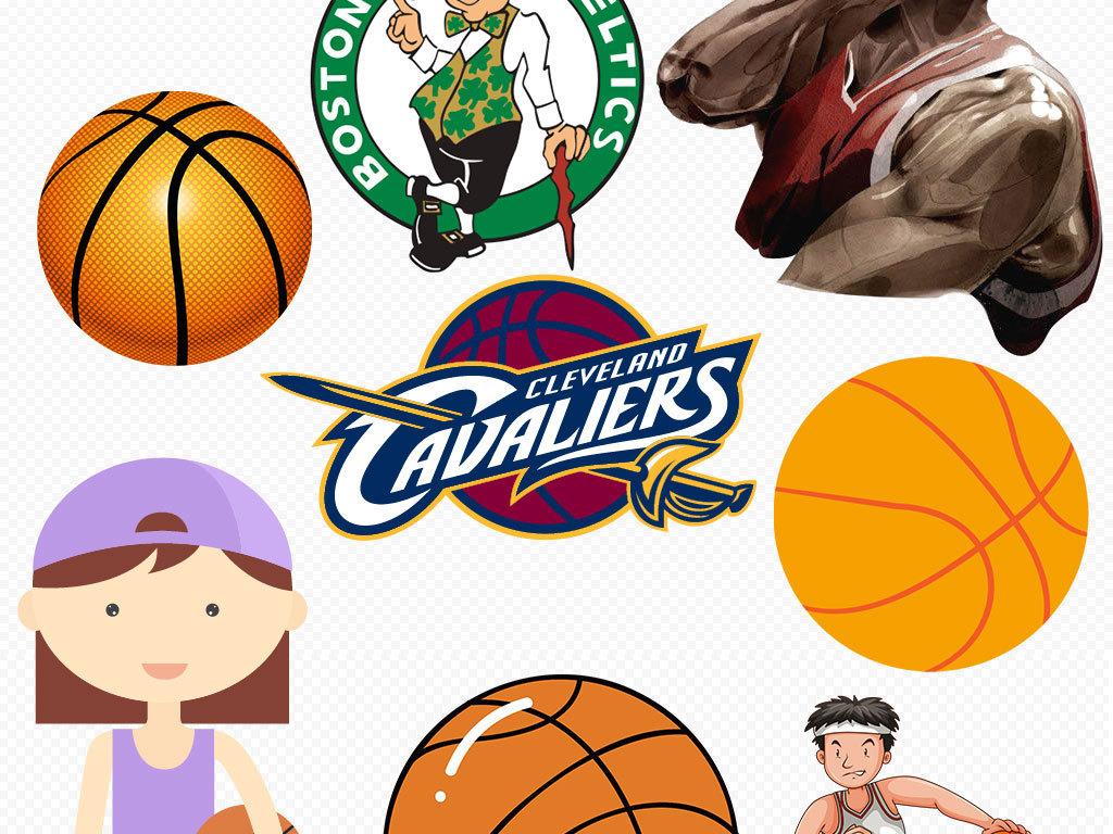 校园运动会卡通足球篮球png免扣素材