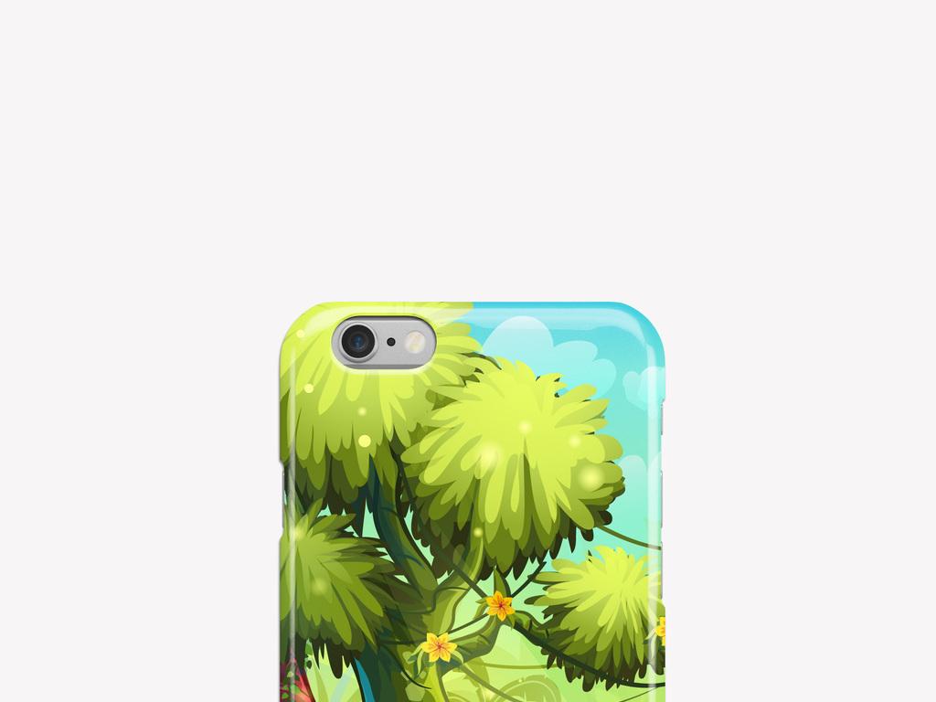 手绘热带雨林卡通手机壳