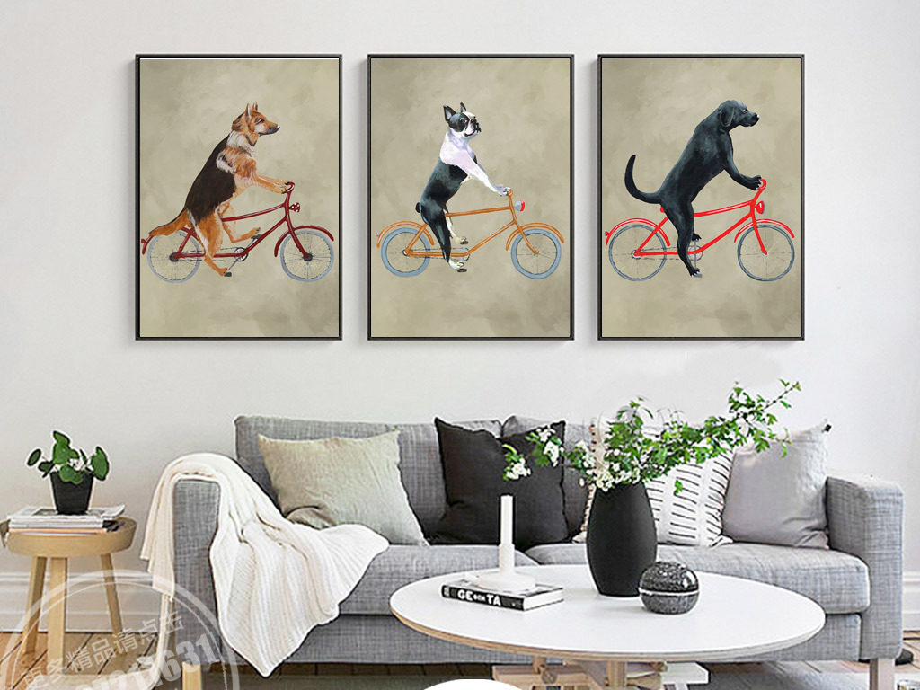 北欧简约创意动物自行车手绘插画无框画