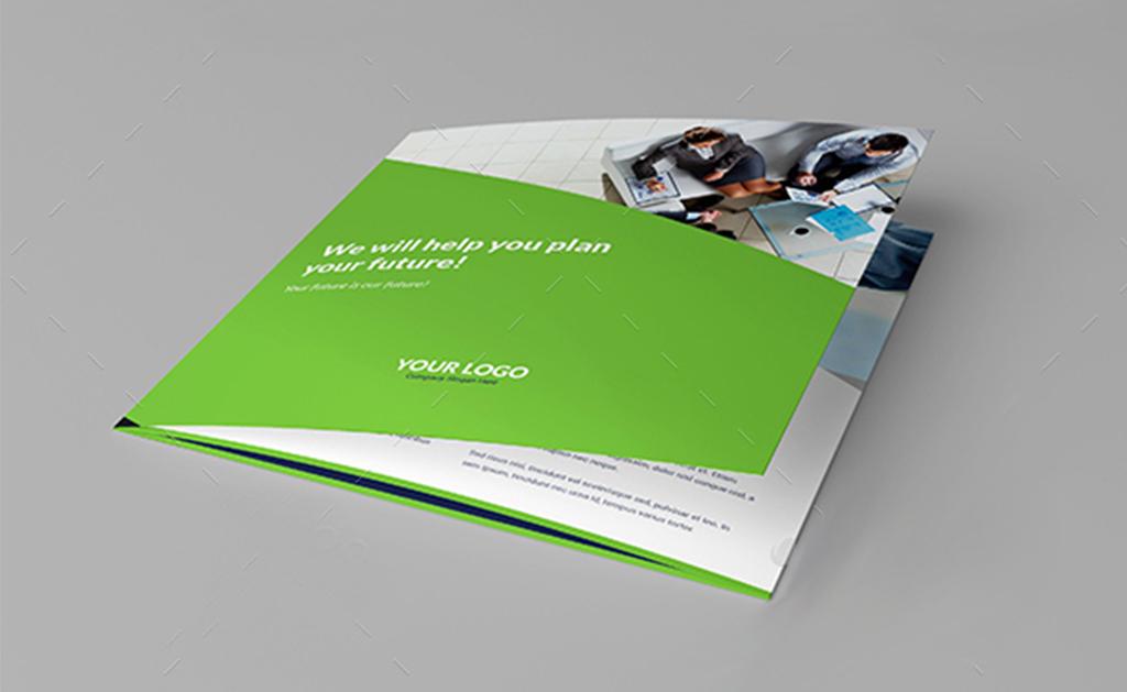 方形通用企业商务三折页宣传册psd模板