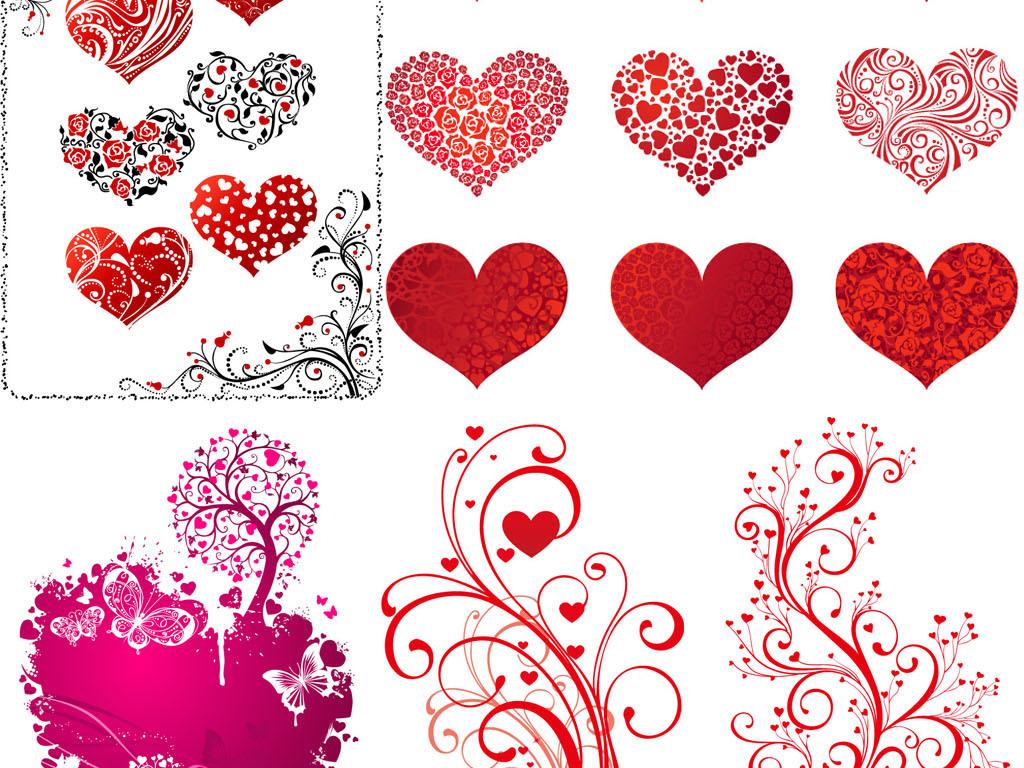 手绘线描爱心型涂鸦爱情人节花纹婚礼婚庆签到树背景矢量图案素材