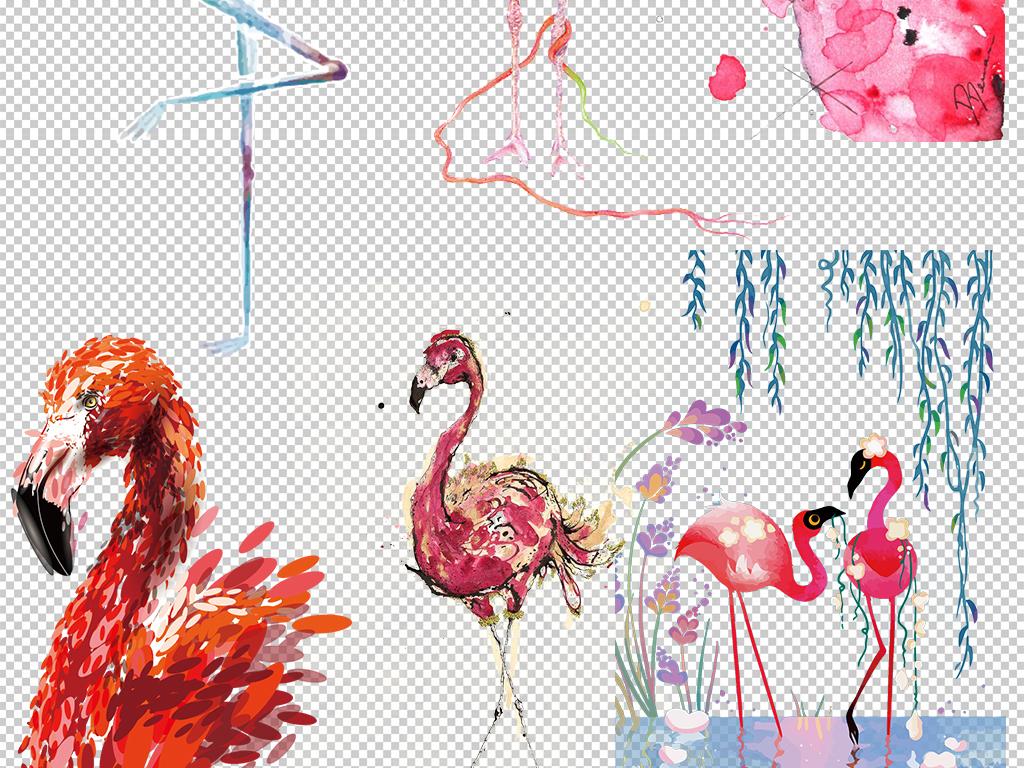 手绘森系火烈鸟背景墙壁纸壁画海报素材