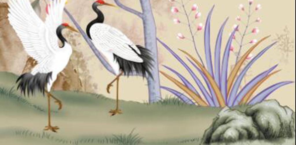 彩雕新中式鸟语花香山水手绘花鸟玄关背景墙