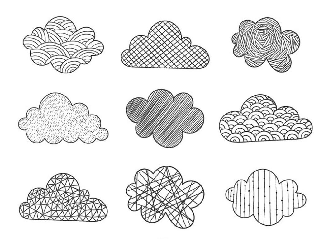 手绘涂鸦云朵图案