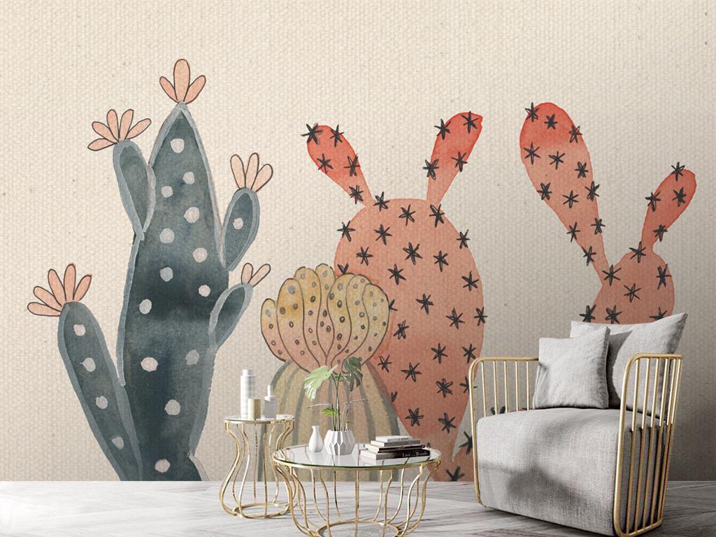 手绘仙人掌背景墙壁纸壁画