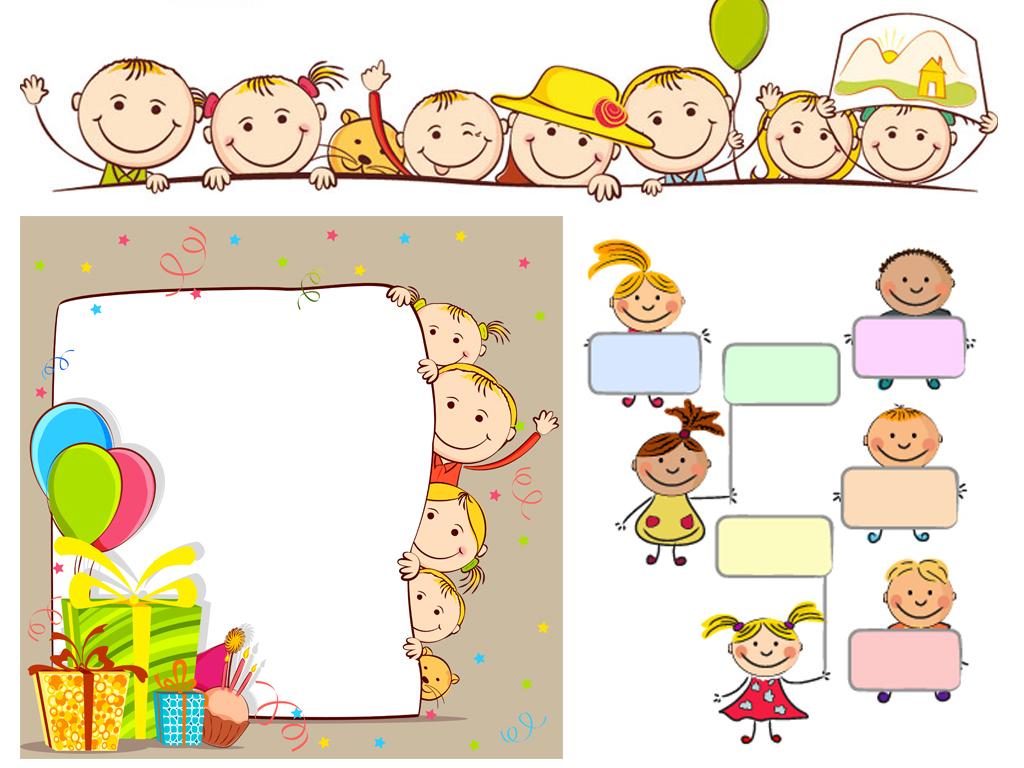 手绘卡通小孩幼儿园校园儿童涂鸦展板广告牌墙画横幅背景矢量素材